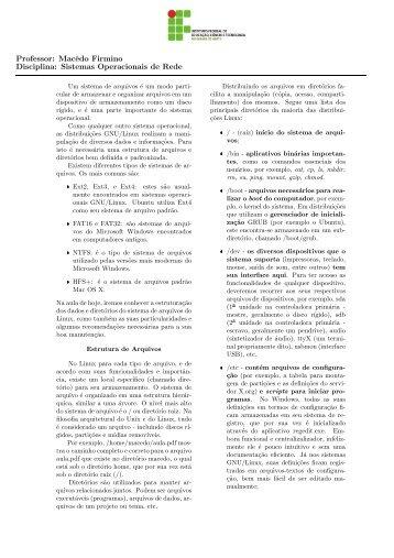 Professor: Macêdo Firmino Disciplina: Sistemas Operacionais ... - Ifrn