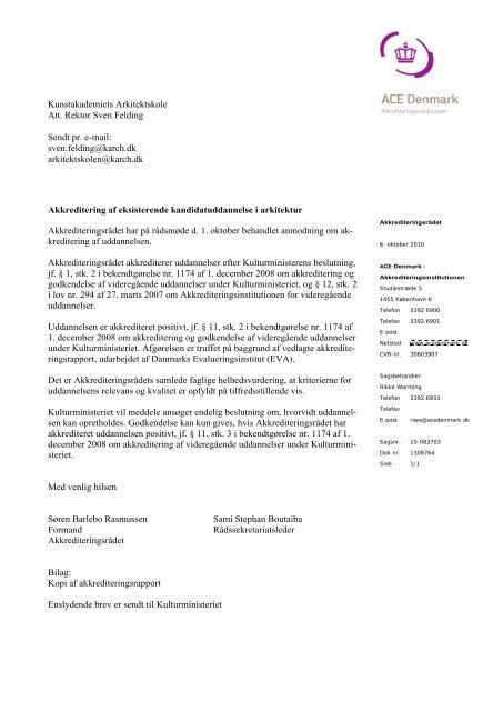 Akkrediteringsrapporten - Kunstakademiets Arkitektskole
