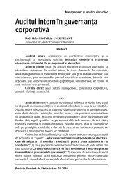 auditul intern în guvernanţa corporativă - Revista Română de Statistică