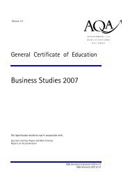 AQA GCE Specification 2007 - Littleover Community School