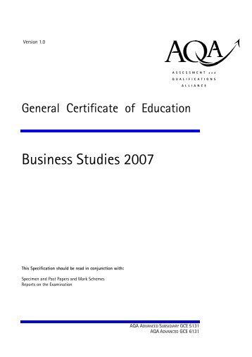 AQA GCE Specification 2007 - Littleover Community School