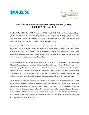 IMAX und CineStar unterzeichnen Vertrag und bringen IMAX ... - ZPR