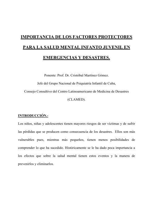 factores protectores y de riesgo salud mental