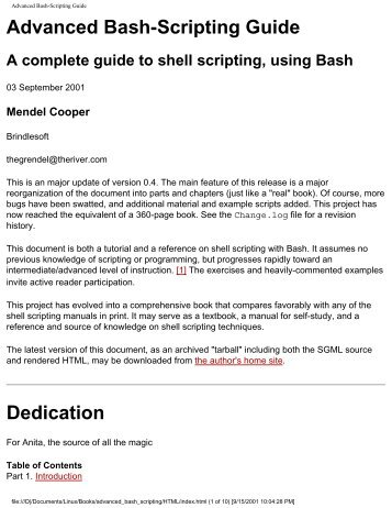 Advanced Bash-Scripting Guide