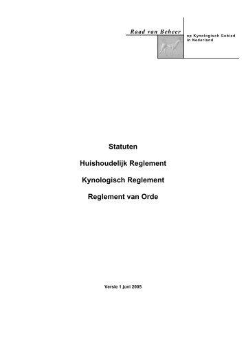 Statuten Huishoudelijk Reglement Kynologisch ... - Raad van Beheer