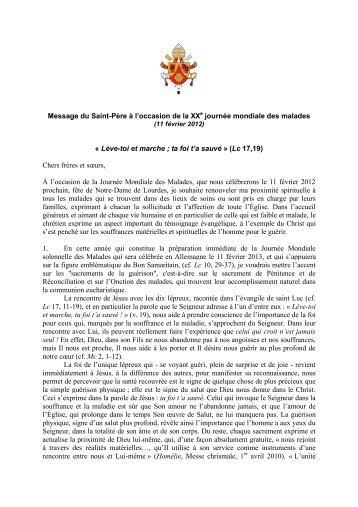 Message Benoît XVI Jour. malades 2012