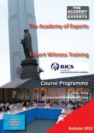 Expert Witness Training Course Programme The ... - RICS ASIA