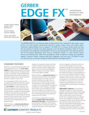 EDGE FX Data Sheet - Gerber Scientific Products