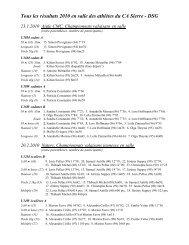 Récapitulation 2010 des résultats en salle - Club Athlétique de Sierre