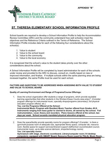 st. theresa elementary school information profile - Windsor-Essex ...