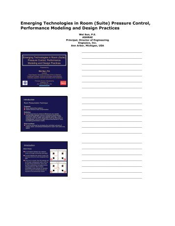 Emerging Technologies in Room (Suite) Pressure Control ...