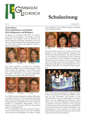 Schulzeitung - Ausgabe Herbst 2012 - Gymnasium Lechenich Erftstadt