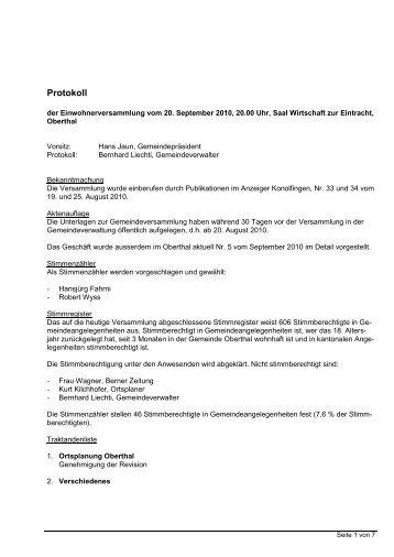 Versammlung vom 20. September 2010 - Oberthal