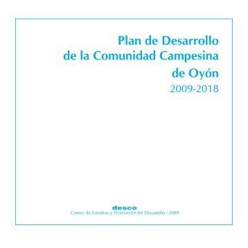 Plan de Desarrollo de la Comunidad Campesina de Oyón - Desco
