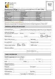 Visual Art Scholarship Application Form 2011-2012 - Renaissance ...