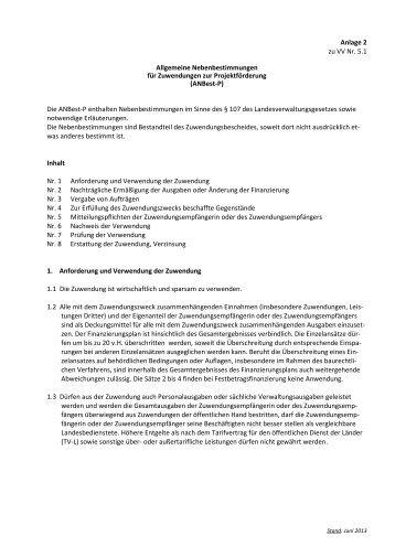 Allgemeine Nebenbestimmungen für Zuwendungen