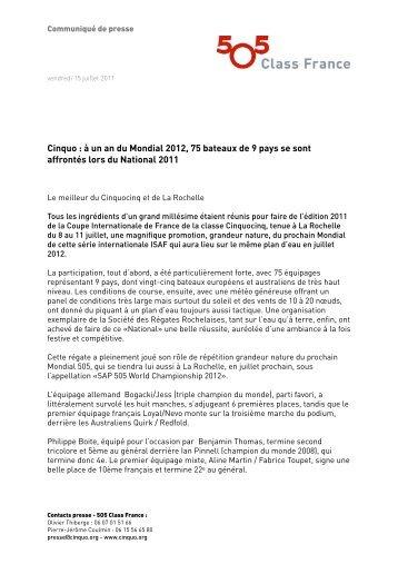 Cinquo : à un an du Mondial 2012, 75 bateaux ... - 5O5 Class France