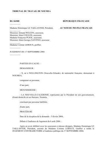TRIBUNAL DU TRAVAIL DE NOUMEA RG 04/008 RÉPUBLIQUE ...