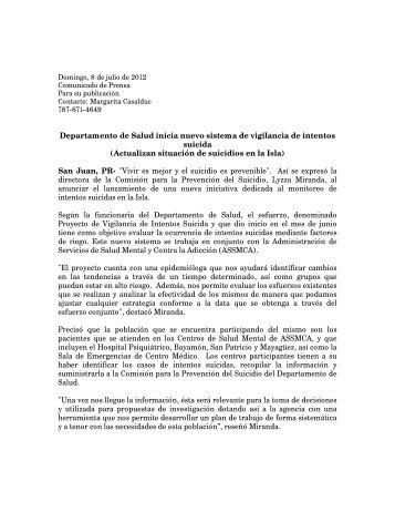 Proyecto de Vigilancia de Intentos Suicida - Departamento de Salud