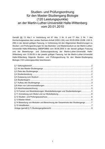 120 Leistungspunkte - Fachbereich Biologie der Uni Halle ...