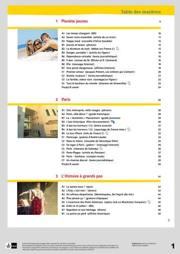Table des matières - Ernst Klett Verlag