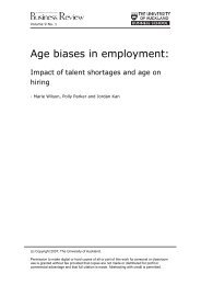Age biases in employment: - University of Auckland Business Review