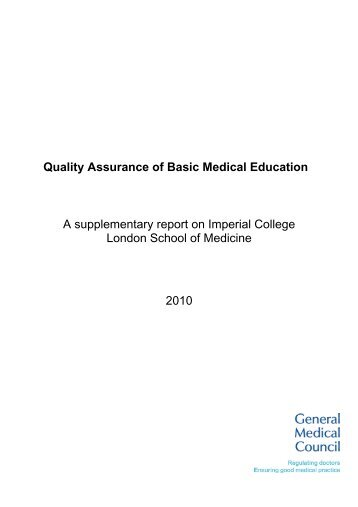 Quality Assurance of Basic Medical Education - General Medical ...