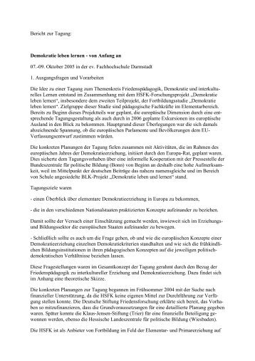 Bericht zur Tagung: Demokratie leben lernen - Prof. Dr. Christian ...