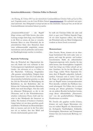 Gemeinwohlökonomie – Christian Felber in Dornach