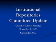 institutional repositories (ir) committee - CrossRef