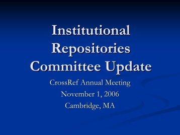 institutional repositories (ir) committee - CrossRef