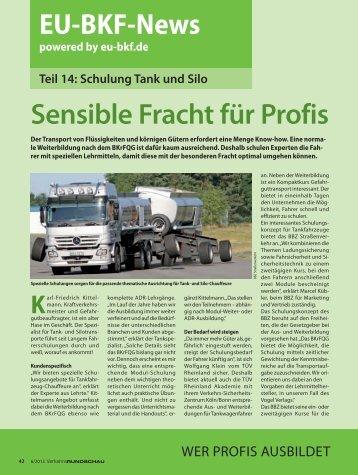Teil 14: Schulung für Tank und Silo - EU-BKF.de