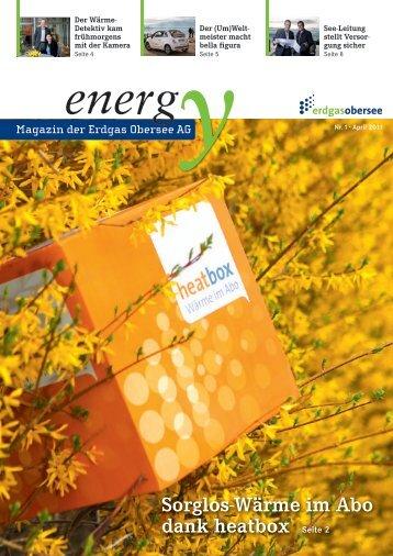 Kundenzeitschrift energy 2011-01 - Erdgas Obersee AG