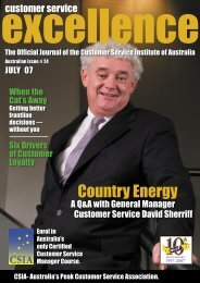 Country Energy…continued - Customer Service Institute of Australia