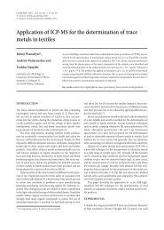 Application of ICP-MS for the determination of trace metals in textiles
