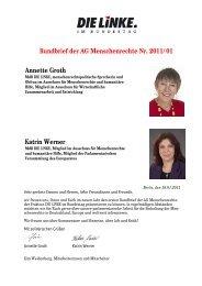 Rundbrief der AG Menschenrechte Nr. 2011/01 Annette Groth Katrin ...