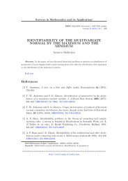 IDENTIFIABILITY OF THE MULTIVARIATE NORMAL BY THE ...