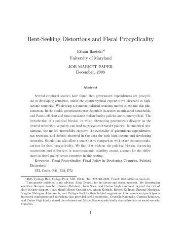 Rent%Seeking Distortions and Fiscal Procyclicality