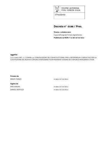 Decreto di indizione dei comizi elettorali - Sistema delle autonomie ...