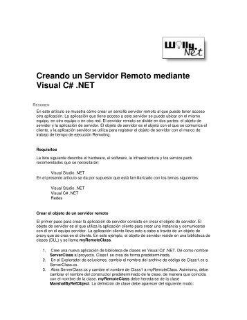 Creando un Servidor Remoto mediante Visual C# .NET - Willy .Net