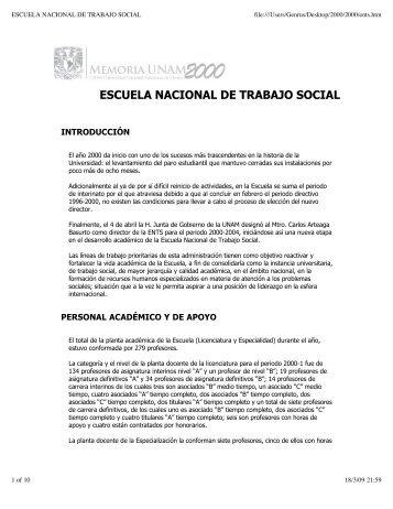 ESCUELA NACIONAL DE TRABAJO SOCIAL - Dirección General ...