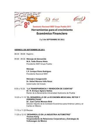 2 y 3 de SEPTIEMBRE DE 2011 08:30 09:00 Registro 09:00 ... - IMEF