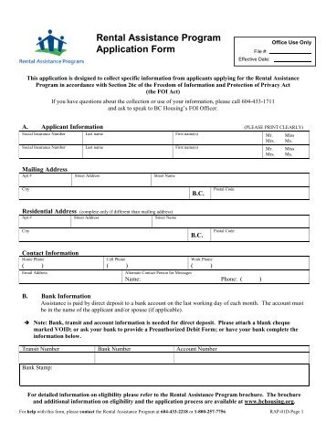 Emergency Housing Program Assistance Declaration Form