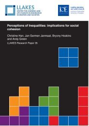 Perceptions of Inequalities: implications for social cohesion - llakes