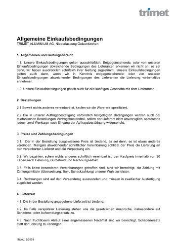 Allgemeine Einkaufsbedingungen - TRIMET Aluminium SE