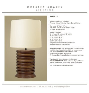 Orestes Suarez - Lighting Collection - De Sousa Hughes
