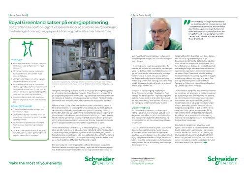 Royal Greenland satser på energioptimering - Schneider Electric