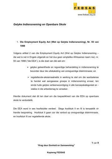 GELYKE INDIENSNEMING EN OPENBARE SKOLE - Federasie van ...