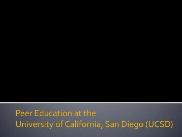 Peer Education at the University of California, San Diego (UCSD)