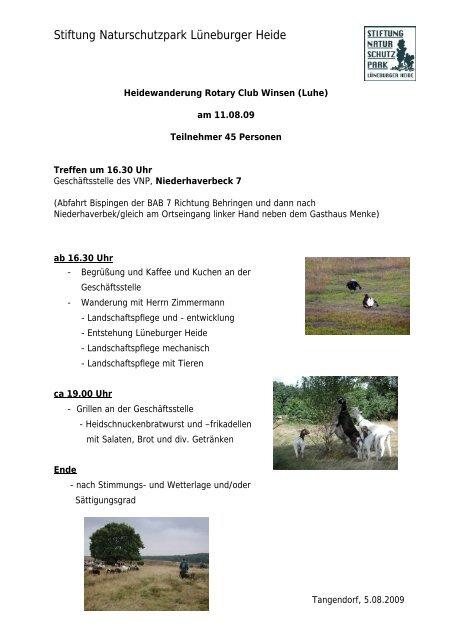 Stiftung Naturschutzpark Lüneburger Heide Rotary Club Winsen